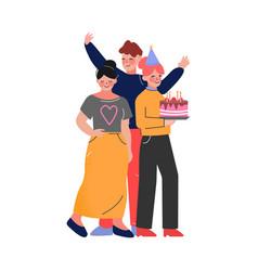 Happy teen boy and girls having birthday party vector