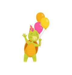 happy turtle blowing in party whistle and holding vector image