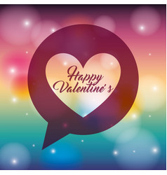 happy valentines heart love in speech bubble vector image