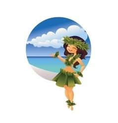 Hawaiian young hula dancer on ocean beach vector