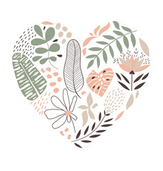 Heart with flowers and leaves vector