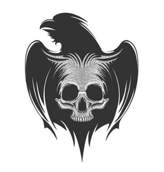 human skull on raven silhouette tattoo vector image