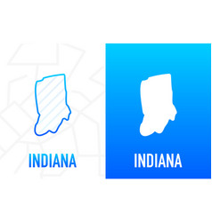 Indiana - us state contour line in white vector