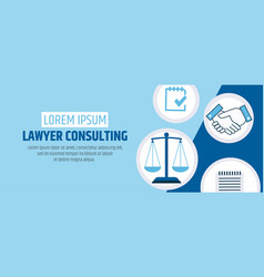 lawyer consulting justice scales a banner vector image