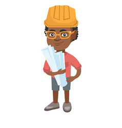 Little african engineer boy holding paper plans vector
