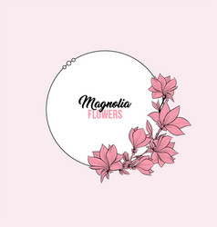 magnolia pink flowers greeting card template vector image