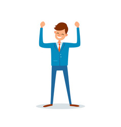 Man happy because of success successful boss vector