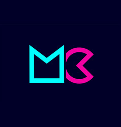 Mc m c blue pink colorful alphabet alphabet vector