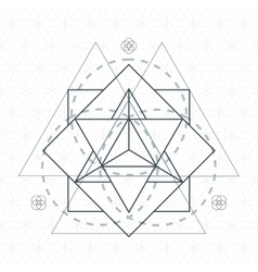 merkaba outline flower of life sacred geometry vector image