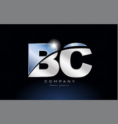 Metal blue alphabet letter bc b c logo company vector