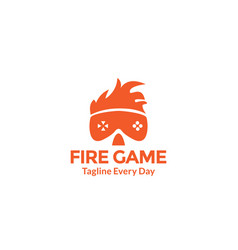 On fire gamer head logo design vector