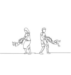 One continuous line drawing young mom and dad vector