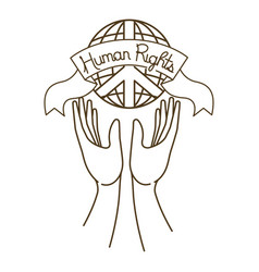 Open hands with human rights symbol vector