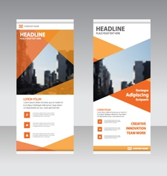 Orange polygon Business Roll Up Banner flat design vector