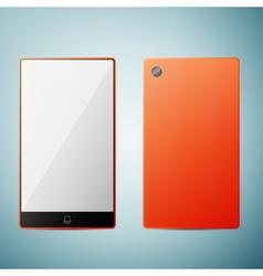 Orange smart phone icon isolated on blue vector