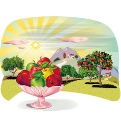 Orchard with rows of apple trees and fruit bowl vector