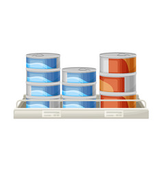 Pile fish tin or can as manufactured product vector