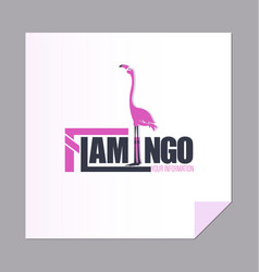 Pink flamingo and the inscription vector