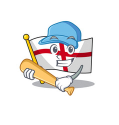 Playing baseball flag england isolated in the vector