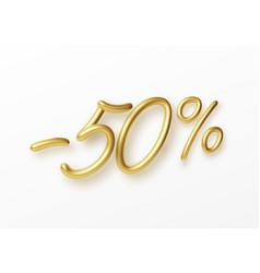 realistic golden text 50 percent discount number vector image