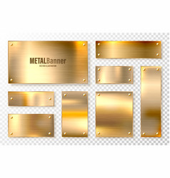 Realistic shiny metal banners set brushed steel vector