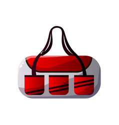 red and white sportive handbag with double handles vector image