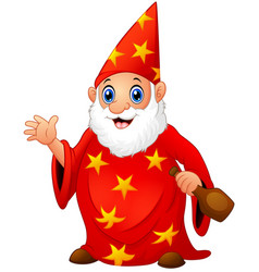 red old wizard holding a bottle vector image
