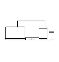 responsive icon tablet laptop monitor vector image