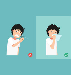 right and wrong sneezing in hand and handkerchief vector image