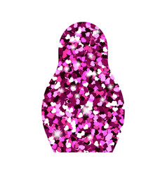 russian doll icon bright pink hearts glitter logo vector image