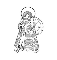 Saint nicholas in doodle boho style with vector