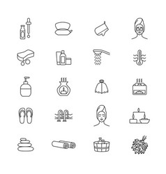 sauna signs black thin line icon set vector image