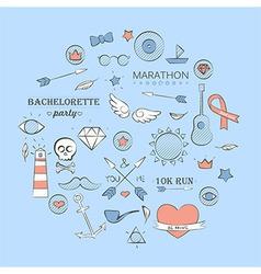Sea doodle hipster set over light blue vector