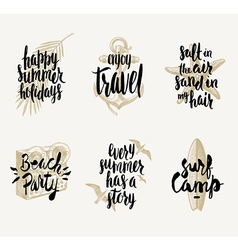 Set of summer vacation hand drawn designs vector image