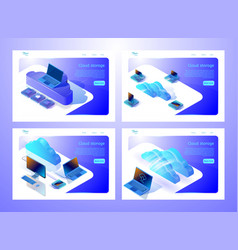 Set of web page templates for websites about cloud vector