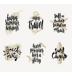 set summer vacation hand drawn designs vector image