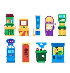 set vintage game slot machines or consoles vector image