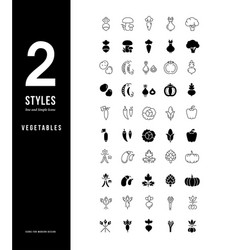 simple line icons vegetables vector image