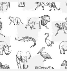 Sketch animal pattern african asian fauna vector