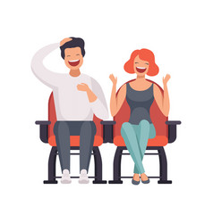 Smiling couple sitting in cinema theatre and vector