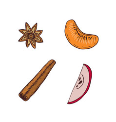 spice and fruits slice icons hand drawn vector image