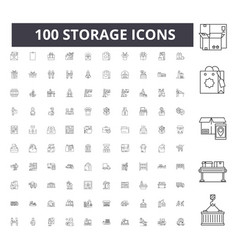 Storage line icons signs set outline vector