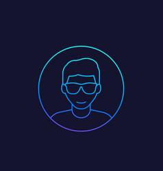Student nerd guy linear icon vector