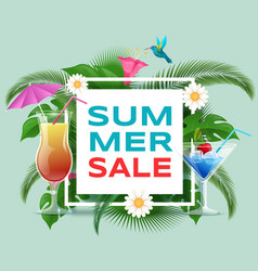 summer cocktails sale banner template vector image