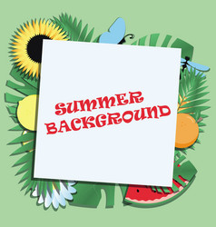 summer holiday background with tropical leaves vector image