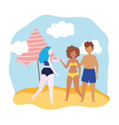summer people activities couple and woman with vector image