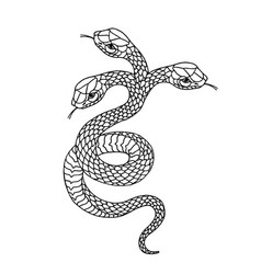 Tattoo snake traditional black dot style ink vector