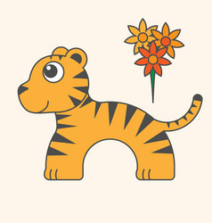 tiger cartoon style art for kids vector image