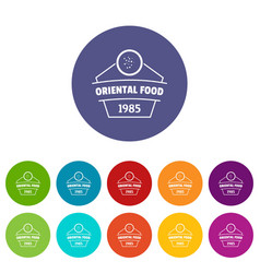 Traditional oriental food icons set color vector