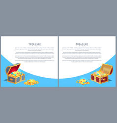 Treasure posters set gold ancient coins chests vector